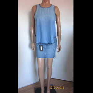 Cloth & Stone Blanket Stitched Chambray Tank Top